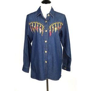 Bob Mackie Wearable Art Denim Shirt Sm Embroidered